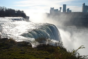Niagara falls with city