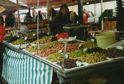 One of our favorites at the market in the old town in Nice, the olive stand!