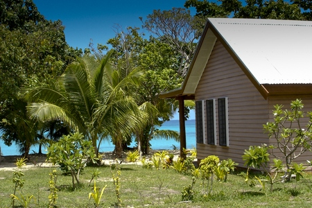 """Our"" bure (cottage) on Nacula Island, Fiji. Certainly wouldn't mind spending some time there now."